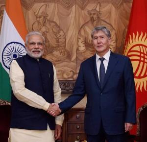 Bishkek: Prime Minister Narendra Modi with President of Kyrgyzstan Almazbek Atambayev before their meeting at Ala-Archa State Residence in Bishkek, Kyrgyzstan on Sunday. PTI Photo by Manvender Vashist(PTI7_12_2015_000003B)