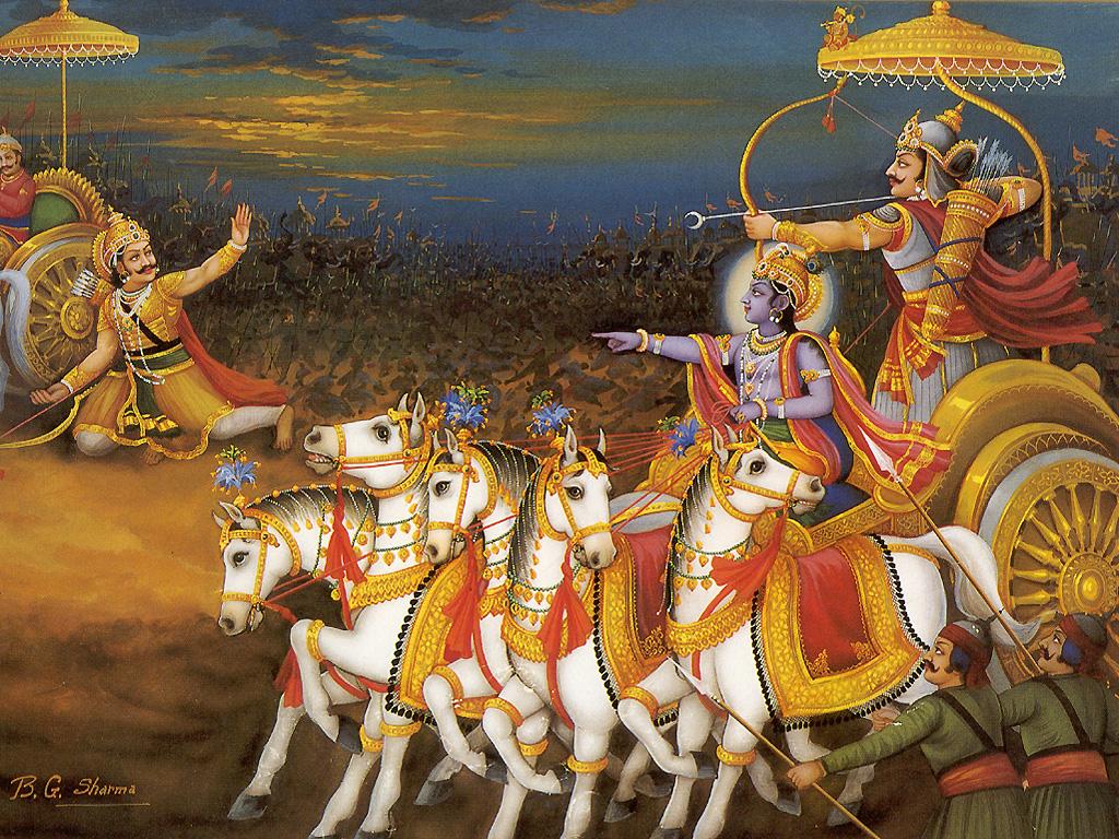 lord-krishna-defeting-karna-in-mahabharata